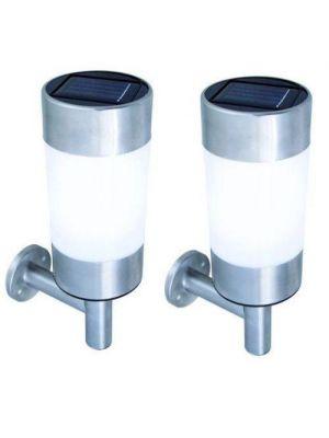 2 x STAINLESS STEEL SOLAR POWERED LED WALL LIGHT LAMP OUTDOOR GARDEN DOOR FREE P