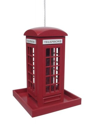 Traditional Red Police Phone Box Wooden Hanging Bird Feeder