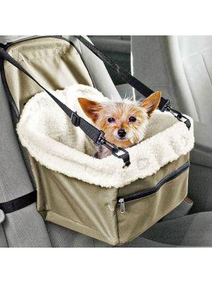 Folding Dog Travel Booster Bag Pet Car Seat Carrier with Safety Belt