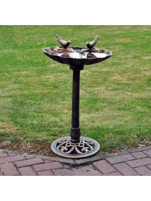 Traditional Bronze Effect Plastic Bird Bath All Weather Ornamental Garden