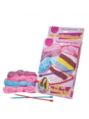 My First Knitting Set Coloured Wool Needles Kids Crafts Kit Girls
