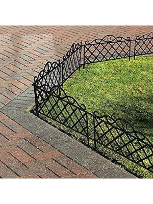 Vintage Black Iron Effect Plastic Garden Lawn Edging Fence Border Panel UK
