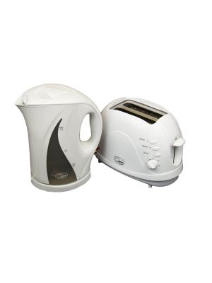Electric Cordless Jug Kettle and 2 Slice Toaster Kitchen Set Gloss White