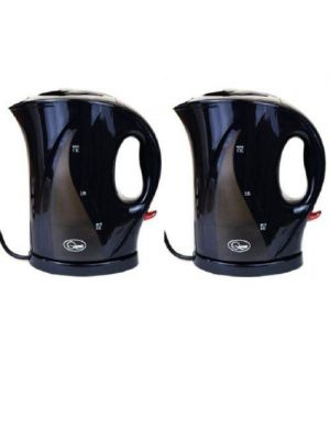 2X Black 1.7L 2000w Fast Boil Electric Kettle Washable Filter