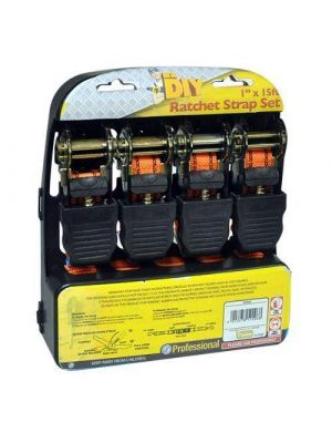 Kingfisher DIYRS4 1-Inch x 15 ft Ratchet Straps - Orange (Pack of 4)