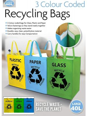Set Of 3 Recycle Bags Colour Coded Plastic Glass Paper Bin Bag