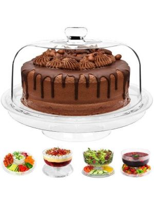 Multi-Function Crystal Clear Plastic Cake Stand with Dome Lid 6 in 1
