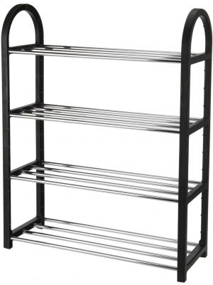 Heavy Duty 4 Tier Metal Shoe Storage Rack Organiser Holds Up To 12 Pairs