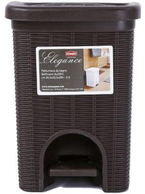 Stefanplast Elegance Bathroom Dustbin, Moka, 20.5 x 20.5 x 28 cm