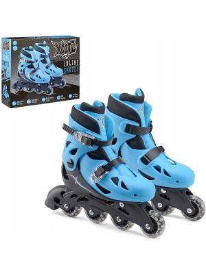 4 Wheel Adjustable Small Inline Roller Blade Skates for Boys Kids Blue/Black