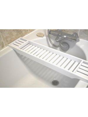White Bamboo Wood Bath Tub Rack Bathroom Shelf Tidy Tray Storage Caddy Organiser