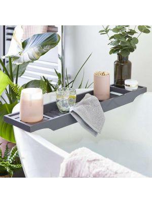 Grey Bamboo Bath Tub Rack Bathroom Shelf Tidy Storage Tray
