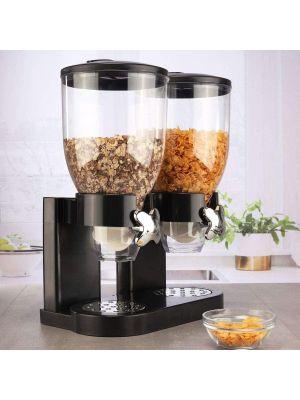 Dry Food Cereal Dispenser Double Canister - Transparent Black