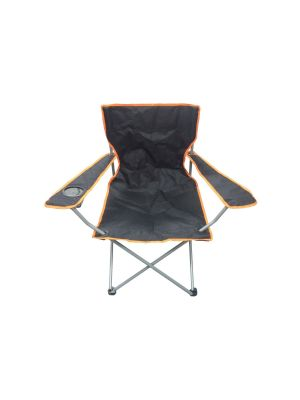 Black & Orange Lightweight Folding Camping Beach Chair With Cup Holder