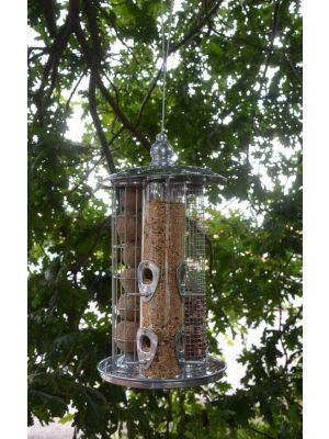 Large Triple Bird Feeder Peanut Seed And Fat Ball Feeder In One Hanger