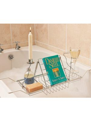 Adjustable Bath Rack Book Stand Bathtub Bridge Shelf Tray Glass Holder