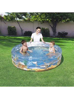 Bestway Transparent Inflatable 3 Ring Sea Life Paddling Pool