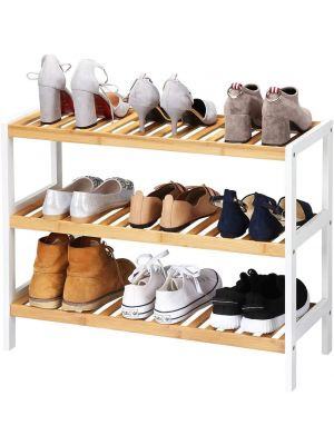 3 Tier Bamboo Wooden Shoe Storage Stand Shelf Organizer, 12 Pairs of Shoes - Ideal for Hallway, Living Room, Bedroom or Bathroom
