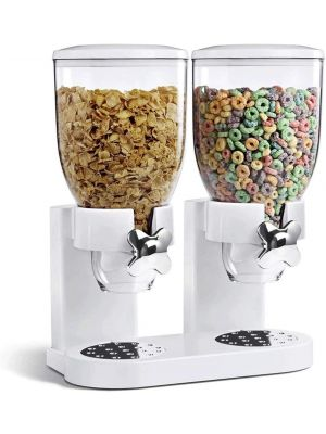 Double Cereal Dispenser Dry Food Storage Container Dispenser Machine White