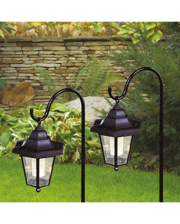 2 X Solar Classic Led Shepherd Hanging Garden Lanterns Coach Outdoor Lamp Lights